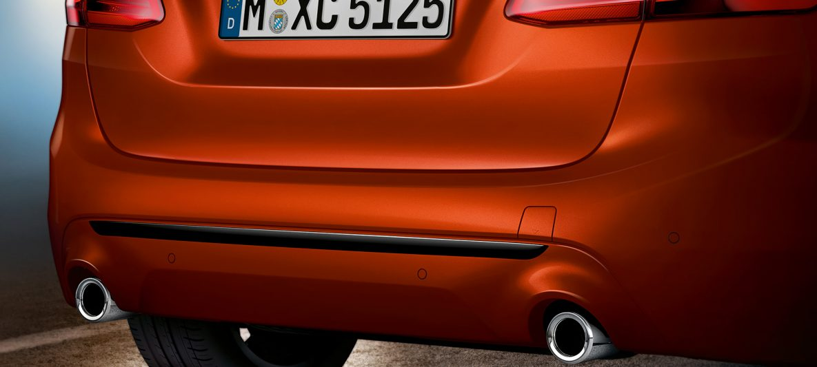 Heckpartie BMW 2er Active Tourer 220i F45 Facelift 2018 Sunset Orange metallic Nahaufnahme Heck